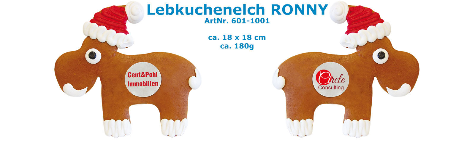 Lebkuchenelch RONNY mit Logo